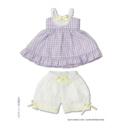"KIKIPOP! - Kinoko Planet ""Gingham Baby Doll Set"" Peach"