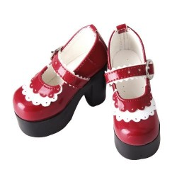 1/3 BJD girl Doll Red white PU High Heel Shoes for SD ZAPATOS Dollfie